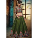 Party Wear Green Banglori Silk Crop Top Lehenga - VrundaZC-FP02