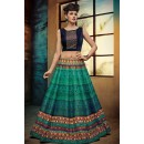 Festival Wear Green & Blue Crop Top Lehenga - VrundaZC-FP03