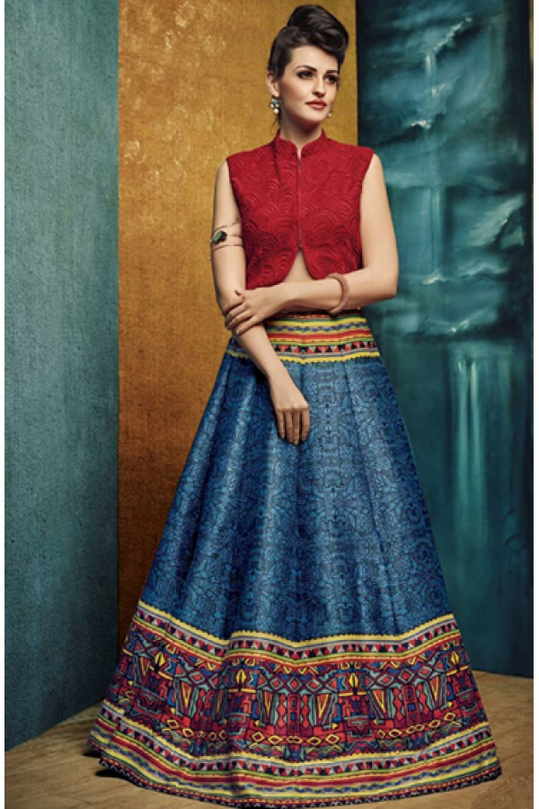Festival Wear Blue & Red Crop Top Lehenga - VrundaZC-FP04