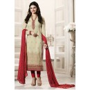 Prachi Desai In Beige & Red Georgette Salwar Suit  - Vinay264566