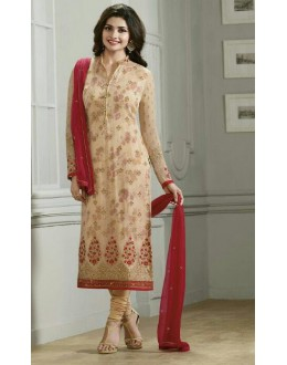 Festival Wear Beige & Red Georgette Salwar Suit  - Vinay224291