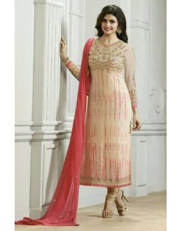 Ethnic Wear Cream & Pink Churidar Suit  - Vinay224295