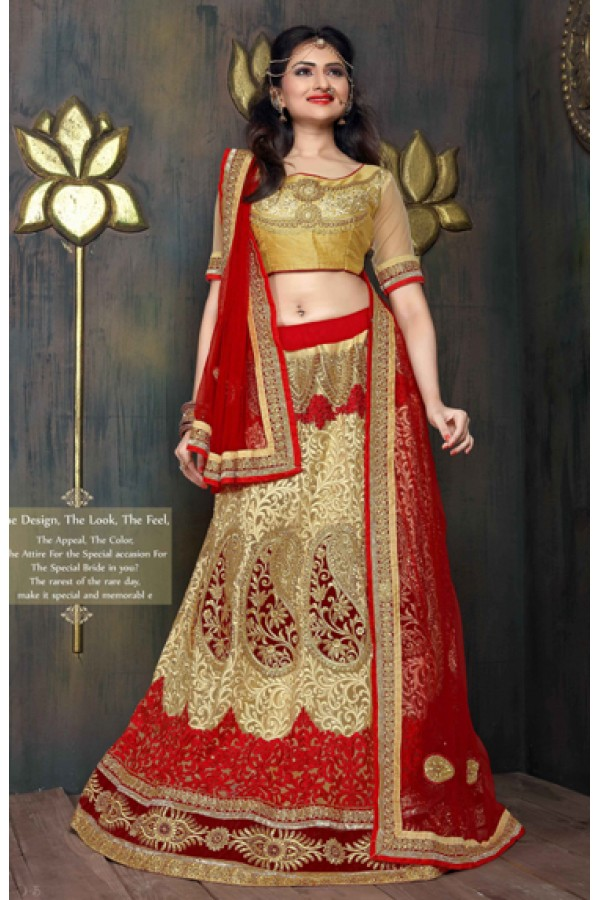 Designer Red & Golden Satin Net Lehenga Choli - ZARAA531