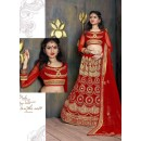 Wedding Wear Red Satin Net Lehenga Choli - ZARAA533