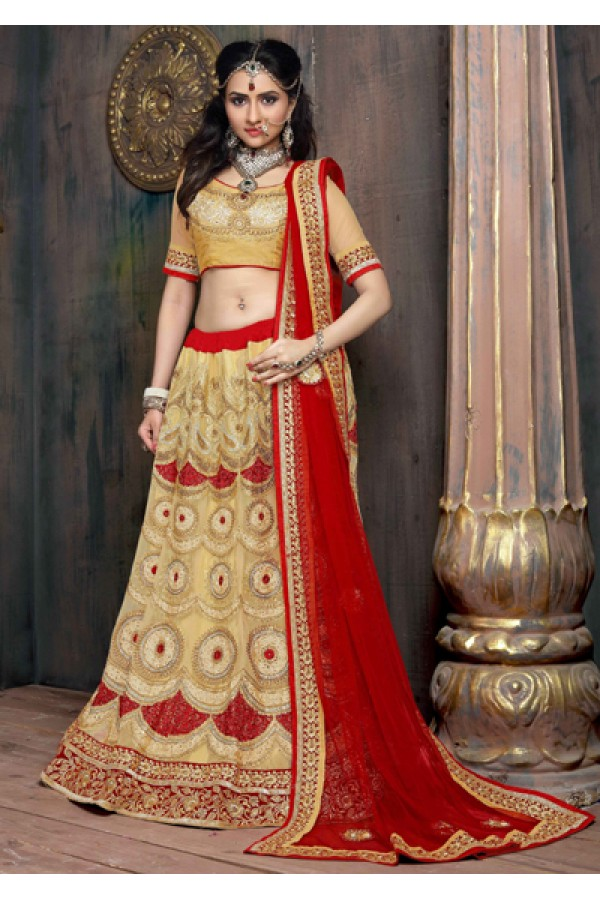 Traditional Golden & Red Satin Net Lehenga Choli - ZARAA534