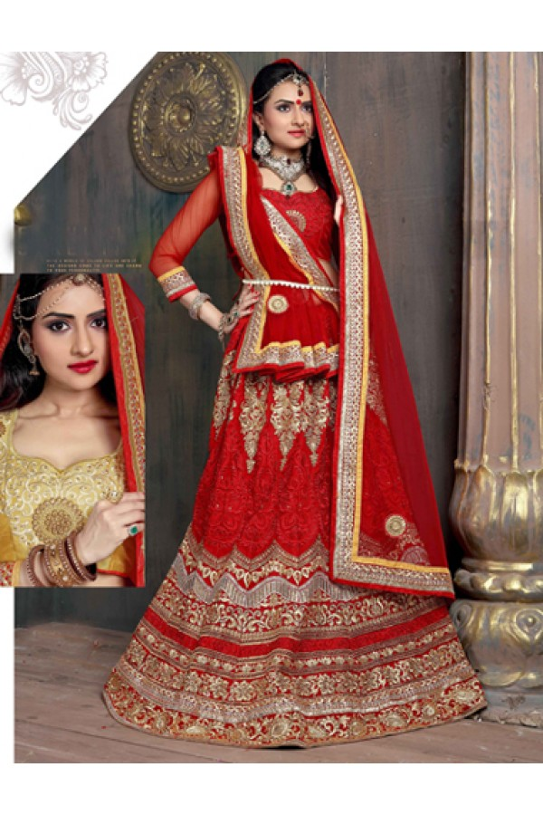 Wedding Wear Red Satin Net Lehenga Choli - ZARAA535