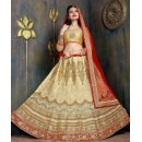 Bridal Wear Golden & Red Satin Net Lehenga Choli - ZARAA536