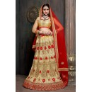 Designer Golden & Red Satin Net Lehenga Choli - ZARAA537