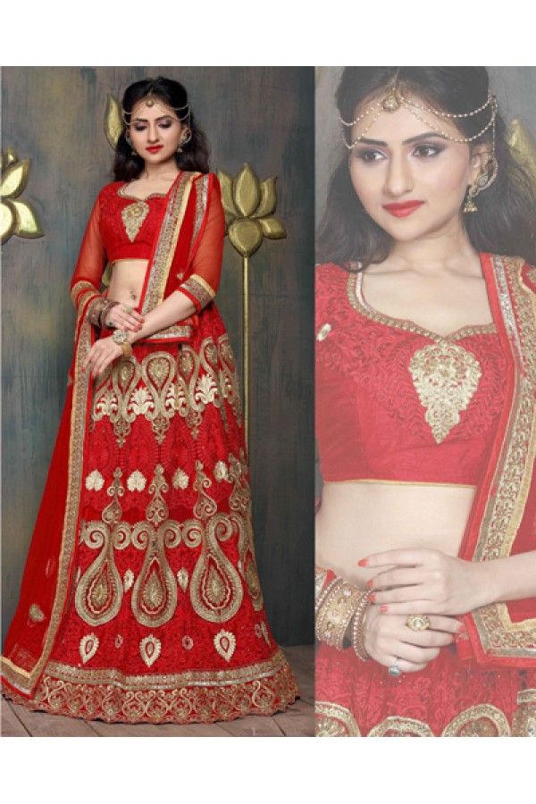 Bridal Wear Red Satin Net Lehenga Choli - ZARAA538