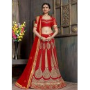 Bridal Wear Red Satin Net Lehenga Choli - ZARAA541