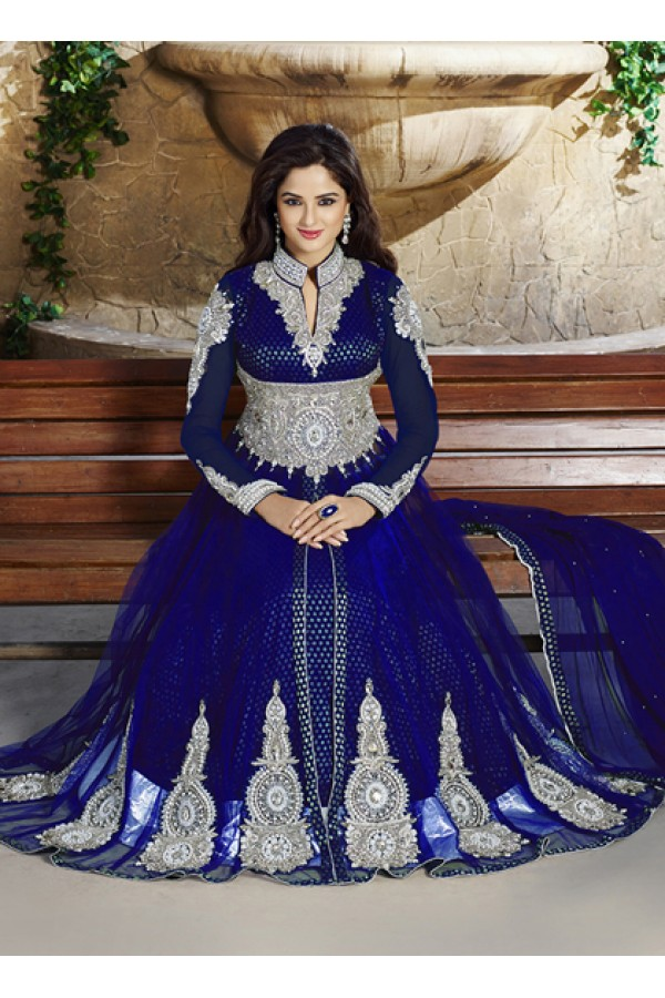 Designer Blue Net Anarkali Suit  - ZikkraBlue