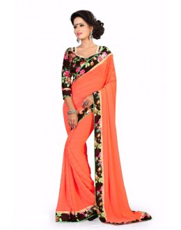 Party Wear Georgette Designer Saree  - ZilmilOrange