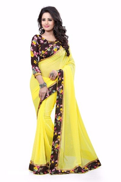Party Wear Georgette Designer Saree  - ZilmilYellow