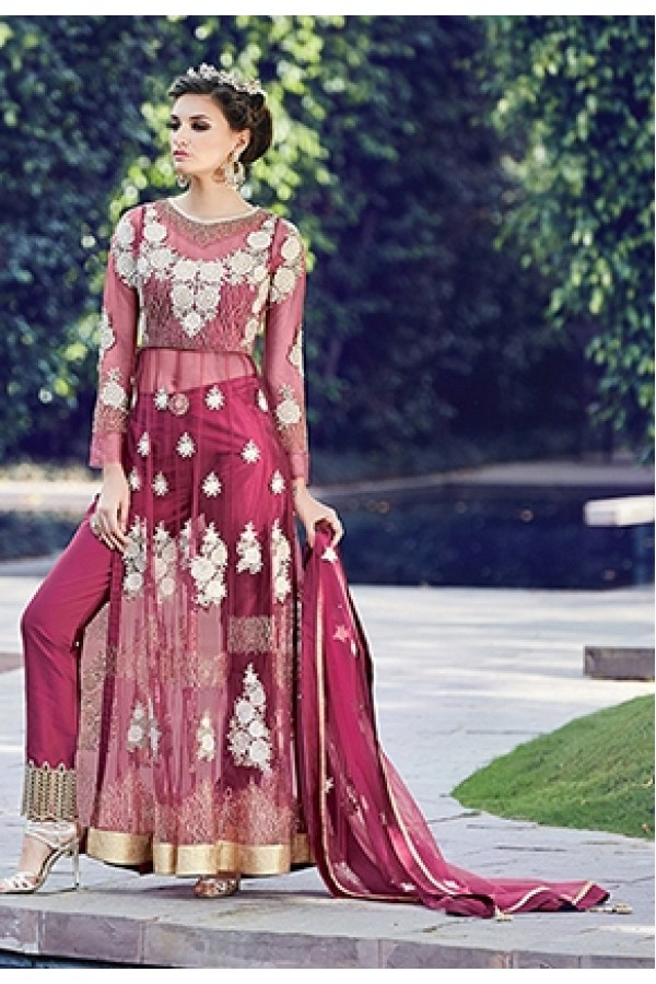 Party Wear Dark Pink Anarkali Salwar Suit - ZoyaCrystal16001