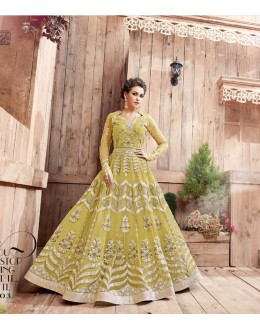 Traditional Wear Paper Lime Havy Net Anarkali Suit - ZoyaEngaged21003