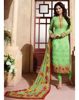Ayesha Takia In Green Georgette Salwar Suit - ZubedaStraight12503