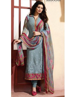 Ayesha Takia In Grey Georgette Salwar Suit - ZubedaStraight12507