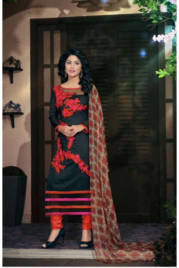 Party wear Black Georgette Salwar suit - 2002