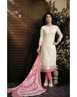 Party wear Cream Georgette Salwar suit - 2007
