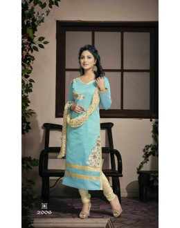 Party wear Sky Blue Georgette Salwar suit - 2006