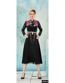 Ethnic Wear Readymade Black Georgette Kurti - Sasya8004