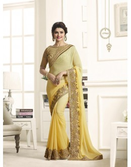 Ethnic Wear Yellow Chiffon Saree  - Sheesha17703