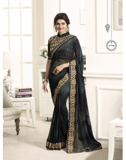 Party Wear Black Chiffon Saree  - Sheesha17708