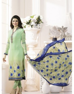Prachi Desai In Light Green French Creap Salwar Suit - Silkina5377