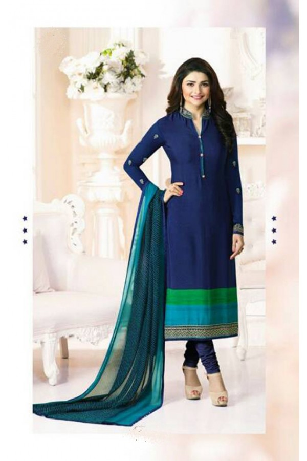 Prachi Desai In Blue French Creap Salwar Suit - Silkina5379