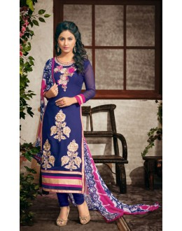 Party wear Blue Georgette Salwar suit - 2001