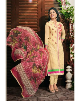Party wear Cream Georgette Salwar suit - 2005