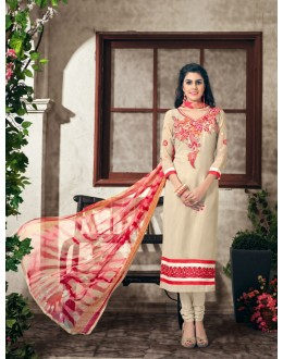 Party wear Cream Georgette Salwar suit - 2008