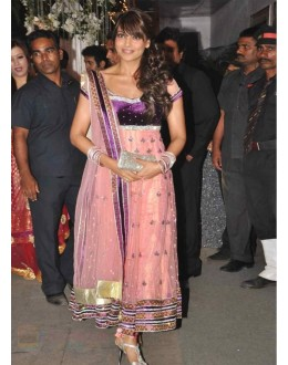Bollywood Replica - Bipasha Basu Pink Stone And Patch Border Work Net Anarkali Suit - df-42 (IB-445)