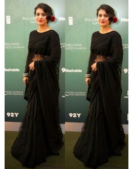 Bollywood Replica - Kajol in Black Designer Embroidery Net Half and Half Saree - 34 (IB-443)