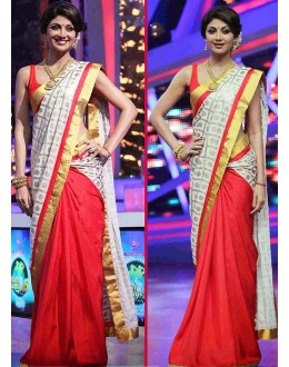 Bollywood Replica - Opulent Shilpa Shetty Red & White Georgette Saree - 19 (IB-443)