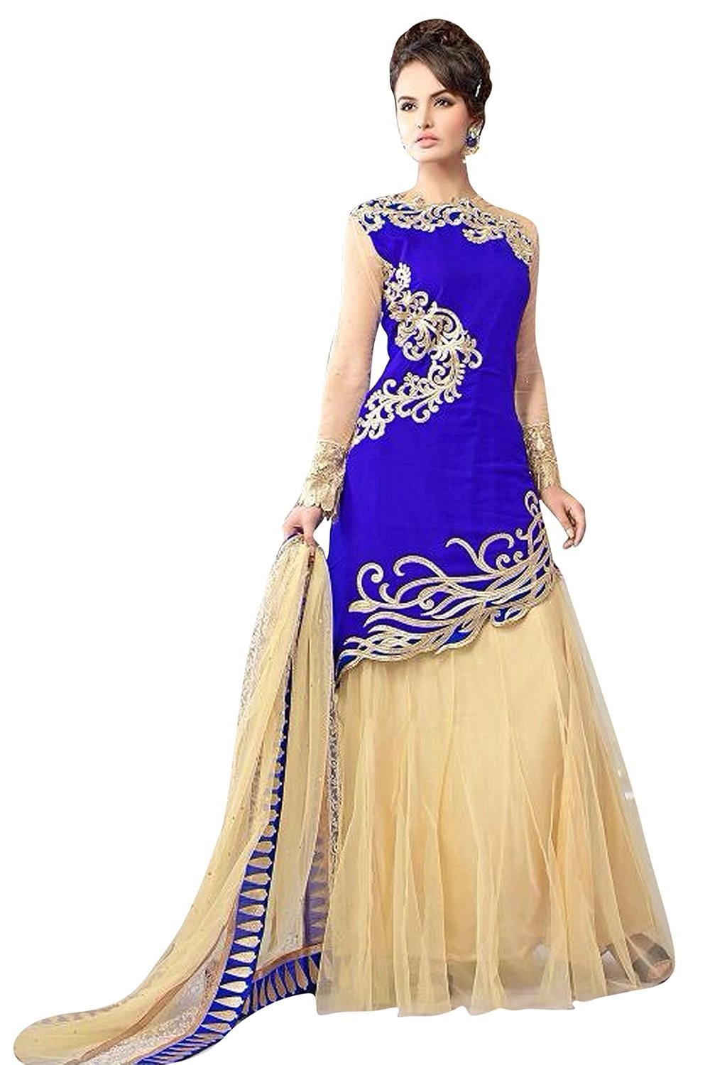 Party Wear Blue & Beige Georgette Lehenga Suit  - 11001