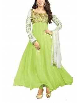 Festival Wear Parrot Green Georgette Anarkali Suit  - 30008