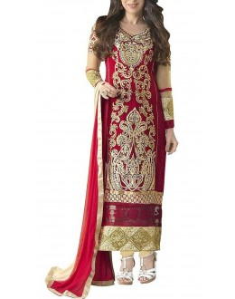 Ethnic Wear Red & Beige Georgette Salwar Suit  - 5103