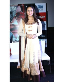 Bollywood Replica - Huma Qureshi Off White Pure Georgette Long Anarkali Suit - D-15 (SIA-D)