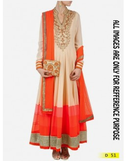 Bollywood Replica - Pure Georgette Cream Color Anarkali Suit - D-51 (SIA-D)