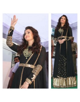 Bollywood Replica - Aishwarya Rai Designer Georgette & Velvet Black Anarkali Suit - S211 (SIA -S-Series)