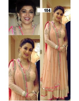 Bollywood Replica - Madhuri Dixit in Peach Color Designer Net Anarkali Suit - 104 (SIA-213)