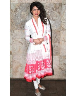 Bollywood Replica - Priyanka Chopra in Pink and White Short Anarkali Suit - 105 (SIA-213)