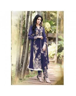 Designer Lapis Blue Georgette Embroidered Salwaar Kameez-308A ( SD-308 )
