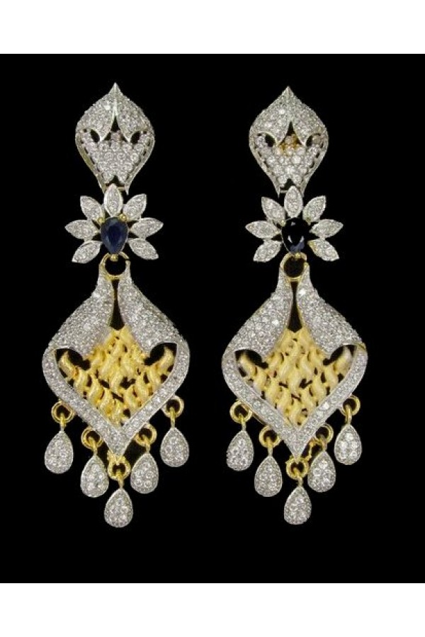 Festival Wear Indian CZ Earrings - 91337