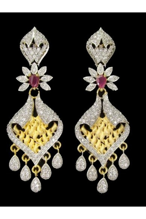 Festival Wear Indian CZ Earrings - 91338