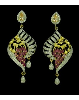 Fancy Indian CZ Earrings - 91344