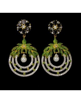Fancy Indian CZ Earrings - 91458