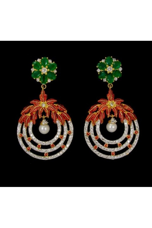 Ethnic Wear Indian CZ Earrings - 91460