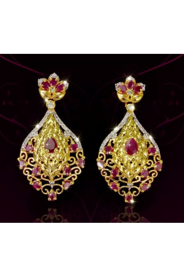 Ethnic Wear Indian CZ Earrings - 91473